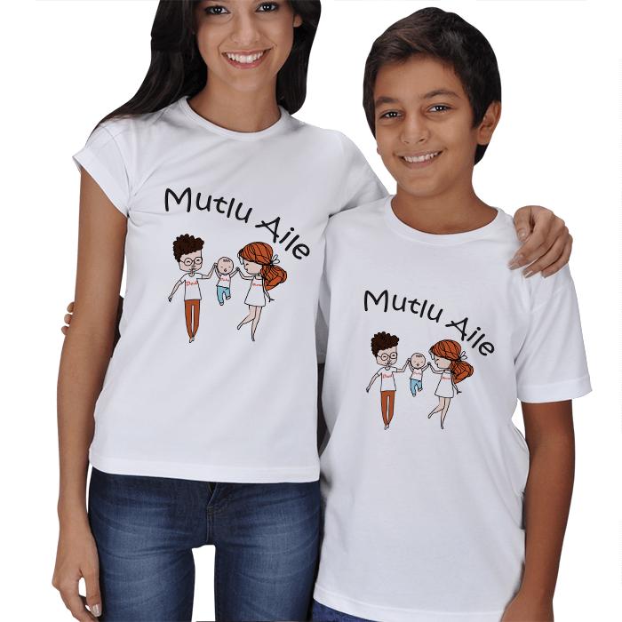 Mutlu Aile Anne Çocuk Tişört