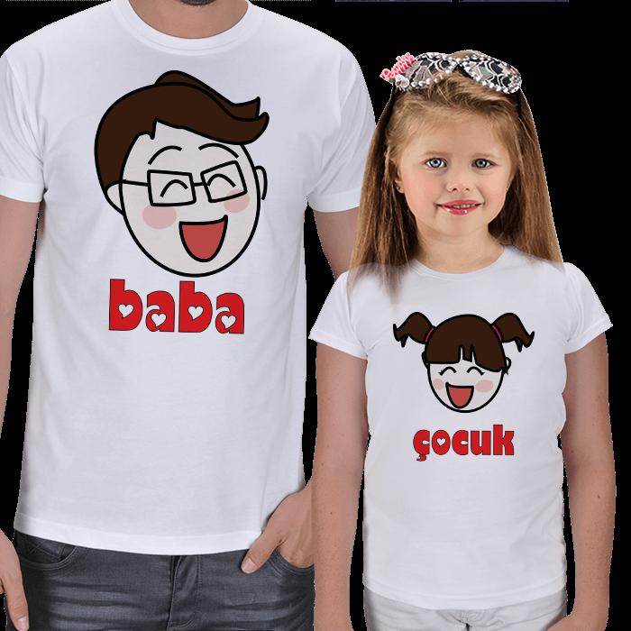 Baba ve Kız Çocuk Tasarımlı Kombin Tişörtler