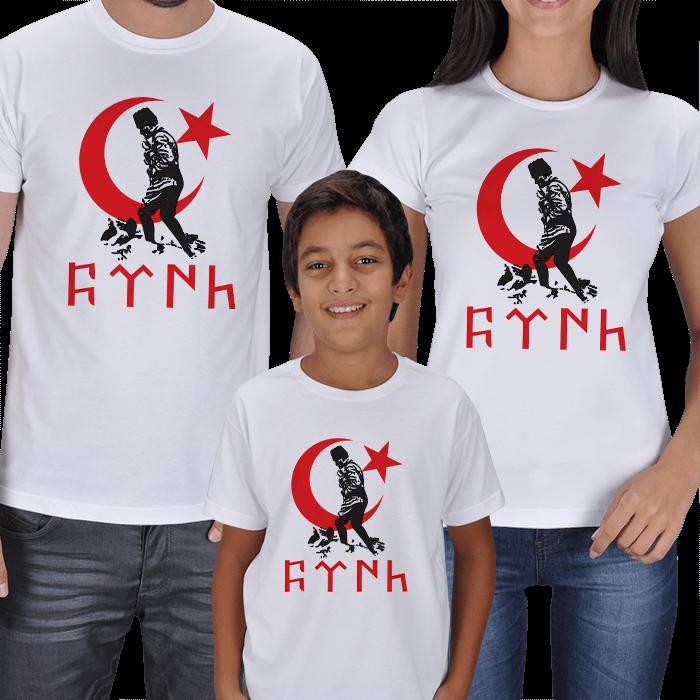 Atatürk ve Ay Yıldız Baskılı 3lü Aile Tişörtleri