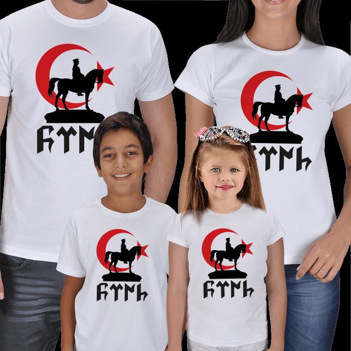 Ay Yıldız ve Türk Baskılı 4lü Aile Tişörtleri