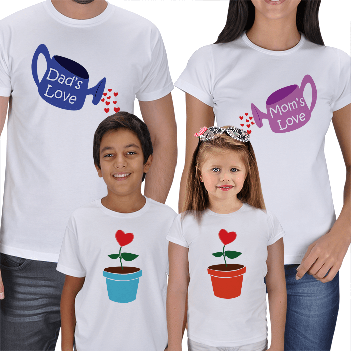 Büyüyen Sevgi 4lü Aile T-shirt