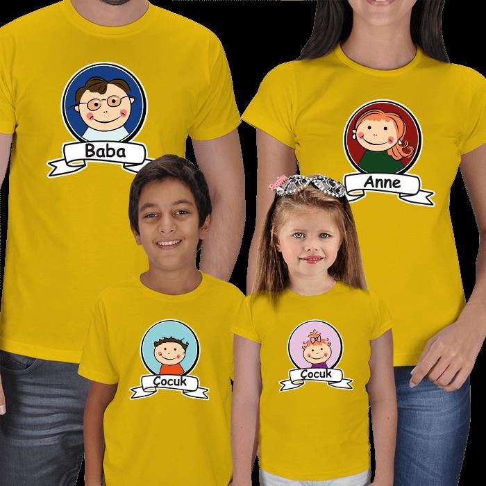 Anne Baba Çocuk Resimli 4lü Tişörtler
