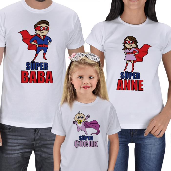 Süper Aile - 3lü Tişört Kombinleri