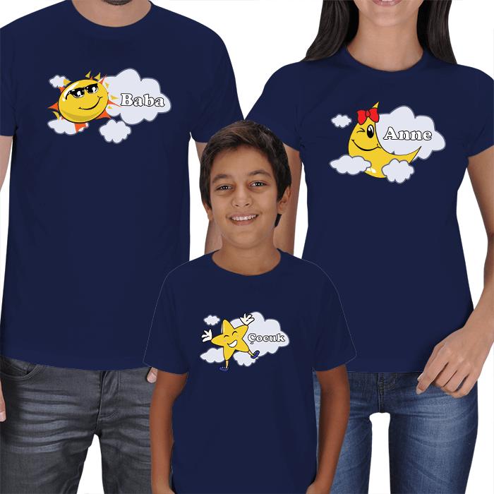 Güneş-Ay ve Yıldız Aile Tişört Setleri