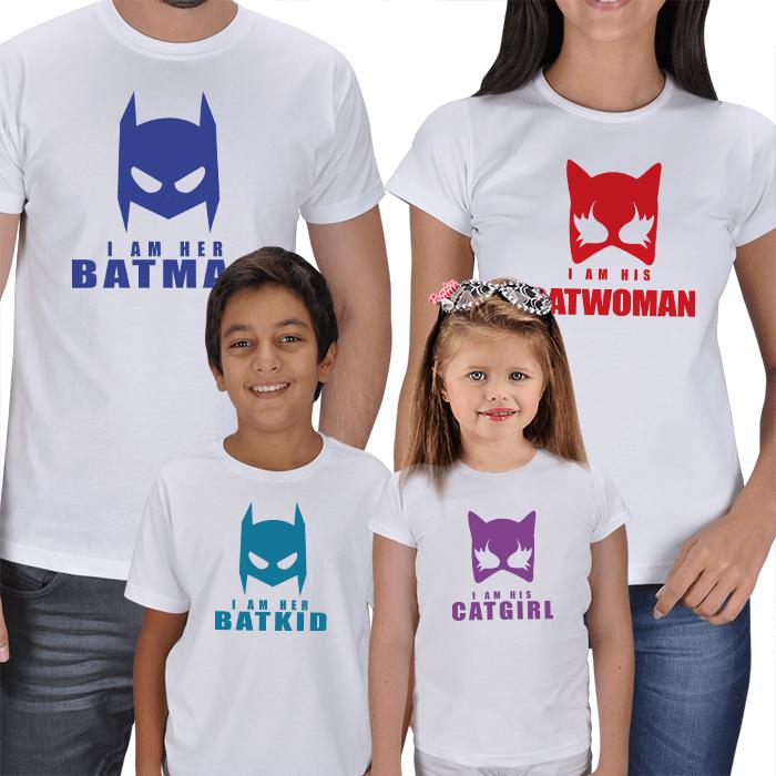 Batman ve Catwoman 4lü Aile tişörtleri