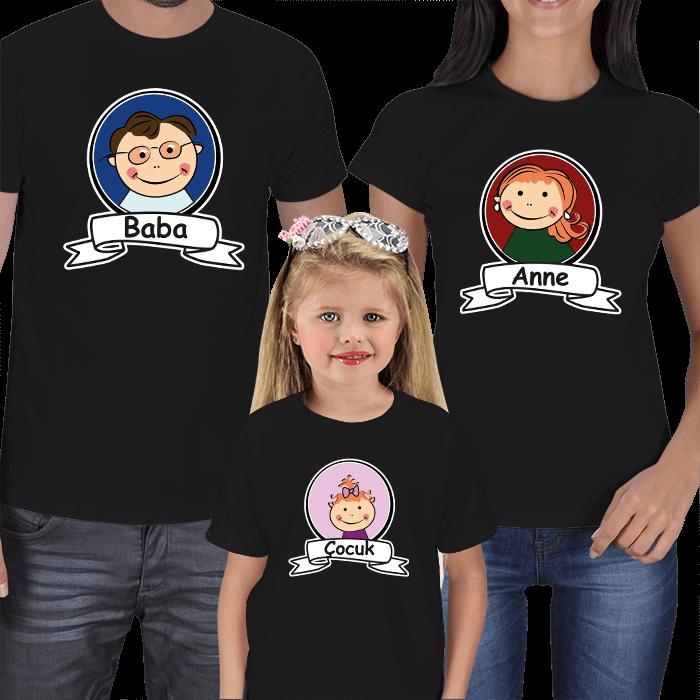 Anne Baba Çocuk Resimli 3lü Tişörtler