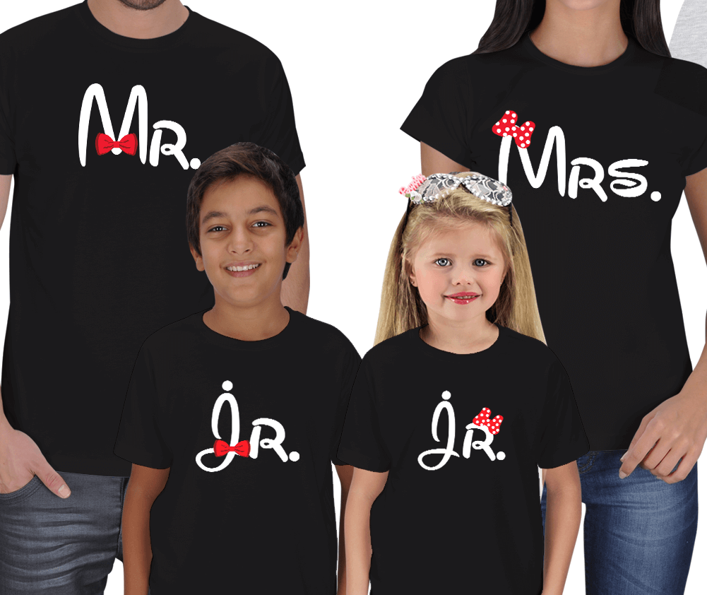 Mr. Mrs and Jr. 4lü Aile T-shirt Kombini