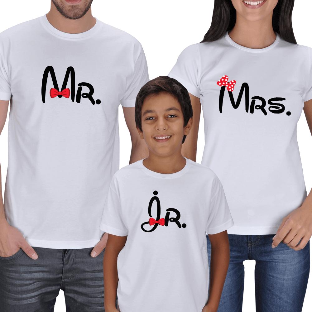 Kişiye Özel Mr. Mrs. and Jr. Family T-shirts